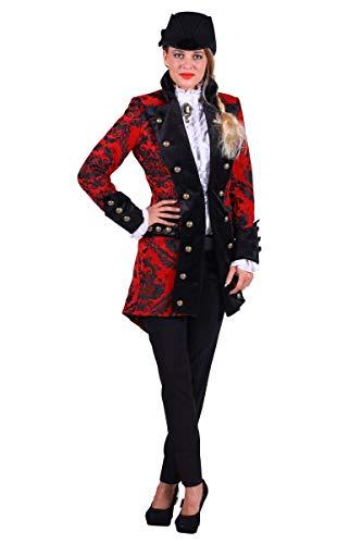 Thetru Damen Kostüm Barock Brokat Jacke rot-schwarz Karneval Gr.M