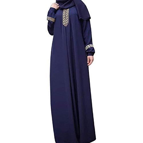 Primavera Mujeres Vestido musulmán arrugado Vestido Recto Manga Larga Abaya túnica Larga Medio Oriente Ramadan árabe ropa (Folk Tanz Kostüm Kinder)