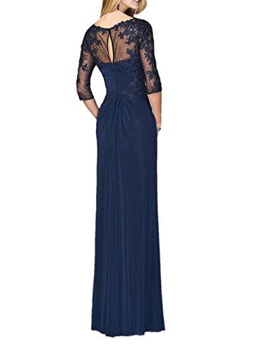 Charmant Damen Navy Blau Spitze Lang Abendkleider Brautmutterkleider Partykleider Abiballkleider Chiffon Mit 3/4 Aermel Navy Blau