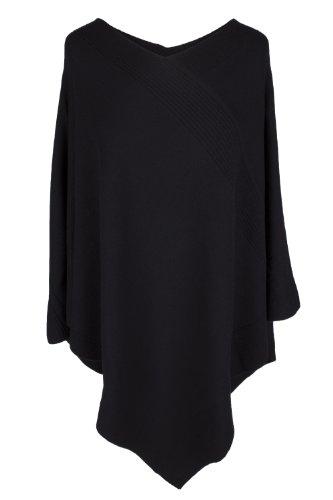Love Cashmere Damen Designer 100% Kaschmir Poncho - 'Schwarz' - Handgefertigt in Schottland - UVP €600 Damen Cashmere Cape