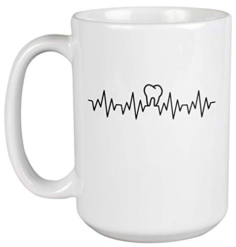 Tooth Hearbeat Lifeline. Dentist Coffee & Tea Gift Mug For Oral Hygienist, Orthodontist, Periodontist, Doctor, Teeth Surgeon, Medical Assistant, Men And Women Dentists (15oz)