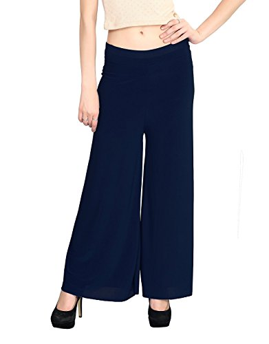 Women's Light Weight Trendy and Stylish Malai Lycra palazzo - Free Size (Navy Blue, Free Size)  available at amazon for Rs.199