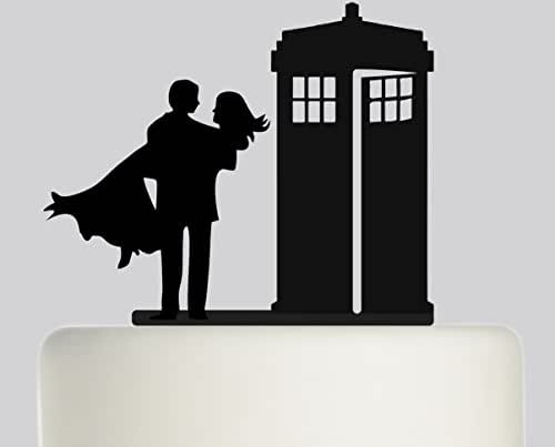 Wedding Cake Topper Doctor Who Tardis, Man, Woman, Bride -1405