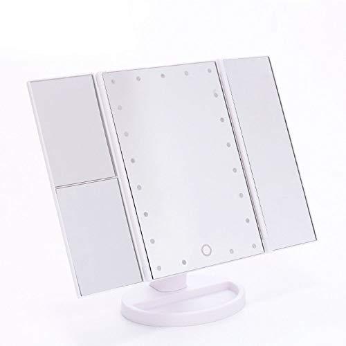 jiyy Kosmetikspiegel Mit LED-Beleuchtung Und Touchscreen Dreifach Gefaltet 1x 2X 3-fache Vergrößerung Um 180 ° Drehbar Batterie- Und USB-Betrieb Kosmetikspiegel,White