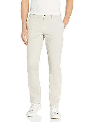 Marca Amazon - Goodthreads - «El pantalón chino perfecto»; pantalón chino de corte entallado, lavado, cómodo y elástico para hombre, piedra, 31W / 30L