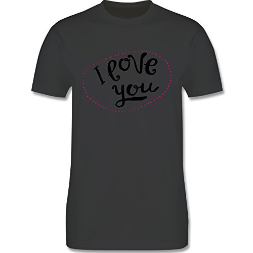 Valentinstag - I Love You Herzen aus Bällen - Herren Premium T-Shirt Dunkelgrau