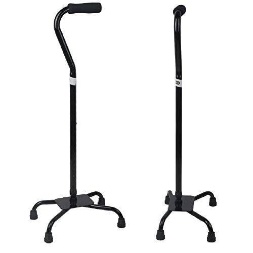 Verstellbarer Quad Cane - Leichtgewicht mit kleiner Basis für Männer und Frauen - Unisex-Gehstock (Schwarz) - Quad Cane Faltbare