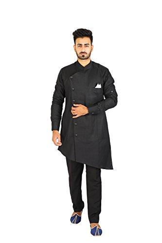 Thaath Men's Black Designer Cut Kurta & Trouser Set