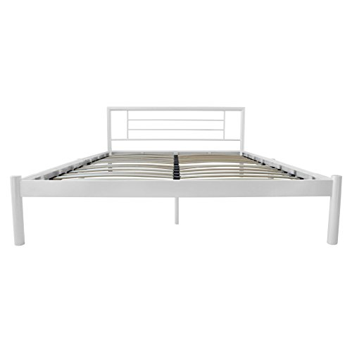 Harbour Housewares King Size Metal Bed Frame In White