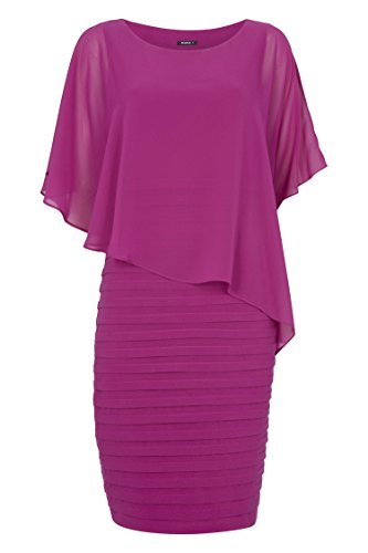 Roman Originals Women's Chiffon Layer Pleated Dress