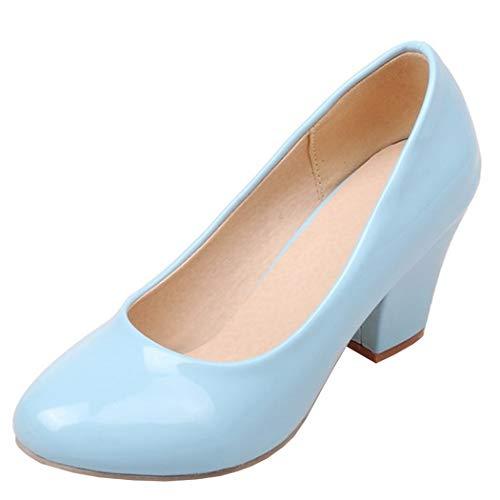 Coolulu Damen Chunky High Heels Lack Pumps mit Blockabsatz 7cm Absatz Geschlossen Schuhe (Blau,39) Schuhe Chunky Heel