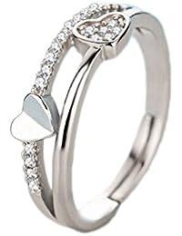 c03993bc9a60 Demarkt Anillos de diamante Bañado Plata Ajustable de Accesoria de Joyería para  mujer
