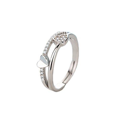westeng-Ring Silber verstellbar Mode Herzen Herz Glas weiß man-made Diamant Damen Ring Schmuck und Zubehör (Diamant-ringe Silber Weißen)