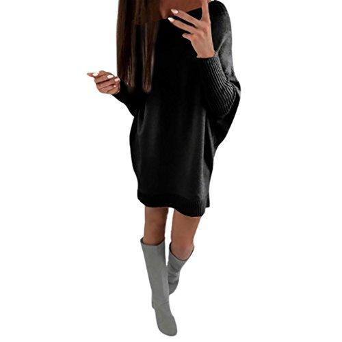 Longra Damen Winter Herbst Strickkleid Longpullover mit Rundhalsausschnitt Langarm Basic Kleider Knielang Frauen Stricksweat Strickpullover Sweatkleid