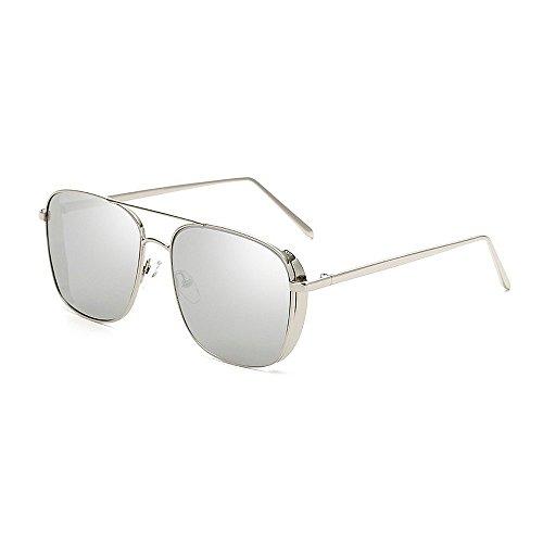 Easy Go Shopping Damen Sonnenbrillen Retro Punk Style für Metallrahmen umrandeten Sonnenbrillen Square Classic Unisex Sonnenbrillen UV Schutz Fahren Sonnenbrillen (Farbe : Silber)