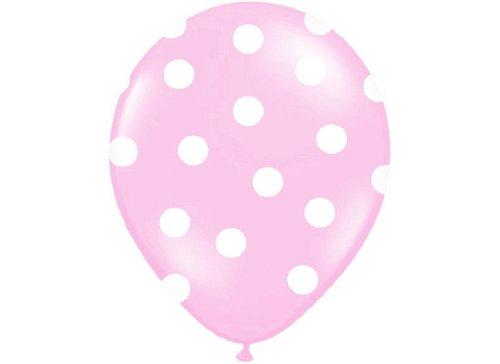 Luftballons hell rosa mit weißen Punkten 6 Stück ca.30 cm Ø Luftballon Ballons