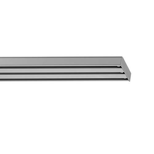 Lichtblick Vorhangschiene für Flächenvorhang, 160 x 4,9 x 1,6 cm, 3-läufig, Gardinenschiene zur Deckenmontage, für Schiebevorhänge/-gardinen, Vorhanghalter, Silber