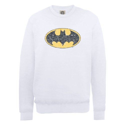 DC Comics Herren, Sweatshirt, DC0000516 Official Batman Gloss Logo Weiß