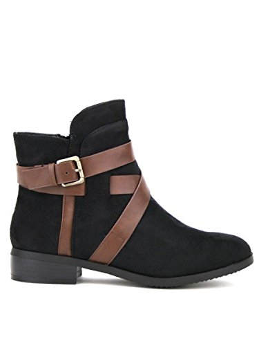 Cendriyon, Bottine Noire Peau simili cuir FRIDANA Chaussures Femme Noir