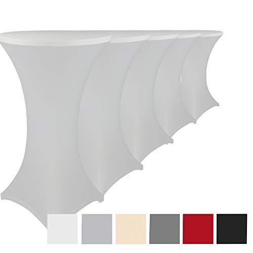 Stehtischhussen Stretch Elastique 5er Set - elastische Premium Stretchhusse für alle gängigen Bistrotische und Stehtische - dehnbarer Tischüberzug mit ÖkoTex100, Farbe:Weiß, Größe:Ø 80-85 cm
