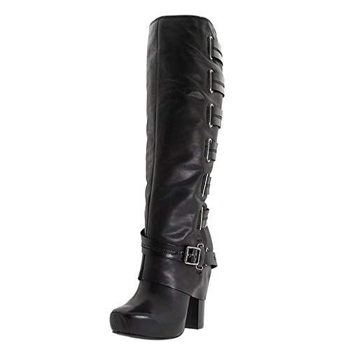 Sunnywill Stiefel Damen Schwarz Leder Mit Absatz Schuhe Elegant Herbst Boots Blockabsatz Schnalle Knie nackte quadratische High Heel Lange Tube ies -