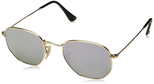 Ray Ban Unisex Sonnenbrille Hexagonal, (Gestell: Gold,Gläser: lila 001/8O), Small (Herstellergröße: 48)