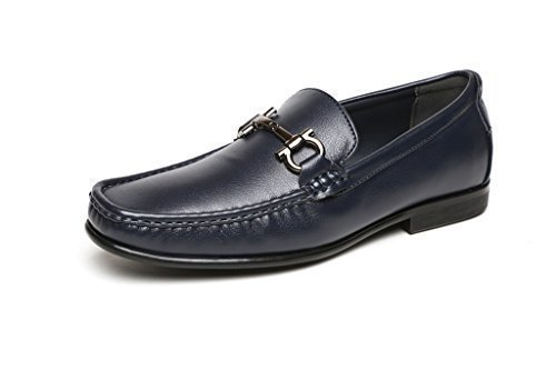 Herren Slipper Fahrerschuhe - lässig elegant Slipper von Jas Mode - Leder Finishing - Metallarmband auf dem Vamp - gepolsterte Innensohle - Marineblau, EU 40