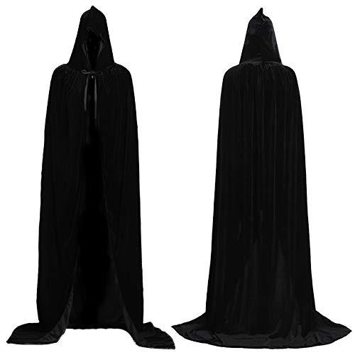 Schwarz Vampir Kostüm - Mrisbtre Umhang Schwarz Unisex mit Kapuze Lange Samtumhang Cape Vampir Kostüm Halloween Karneval Fasching 04BB