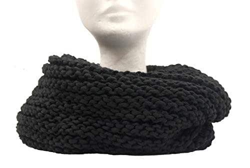 Scaldacollo in maglia, sciarpa ad anello intrecciato col. Nero fatto in Italia Made in Italy
