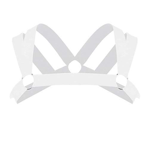 Agoky Herren Strech Harness Nylon Geschirr Schulter Gürtel Doppel-Träger sexy SM Bandage Unterwäsche Unterhemd Erotik Kostüm Clubwear Weiß One - Herren Doppel Kostüm