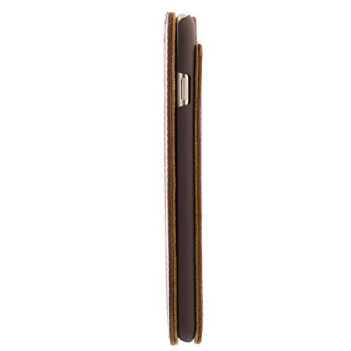 Blumax Echt Ledertasche für iPhone 6s iPhone 6 mit Standfunktion extra Dünn Tasche Braun Leder Hülle Kroko Braun