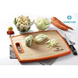 HomeCare Double-Sided Bamboo Wooden Vegetables and Fruit Chopping - Cutting Board with Non-Slip Plastic Holding Handles - Mega