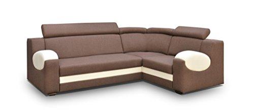 große Ecksofa Sofa Eckcouch Couch mit Schlaffunktion und Bettkasten Ottomane L-Form Schlafsofa Bettsofa Polstergarnitur - PARIS (Ecksofa Rechts, Braun)