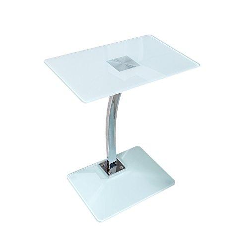 Design TABLET LAPTOP BUTLER Tisch Beistelltisch weiß Laptoptisch Tisch Glastisch Glasplatte