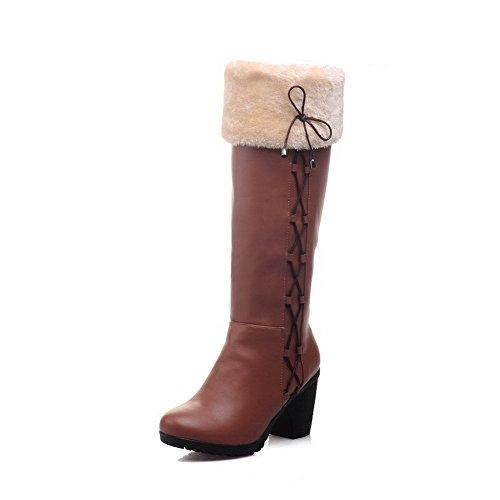 AgooLar Damen Hoch-Spitze Ziehen auf Weiches Material Hoher Absatz Rund Zehe Stiefel, Blau, 35