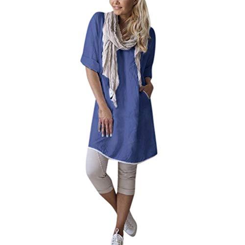 TOPKEAL Oberteil T-Shirt Lässige Feste Blusentasche Damen Sommer Elegante Damen Bluse Spitze Stitching Loose Linen Tunika Frühling Causal Tops Mode 2019