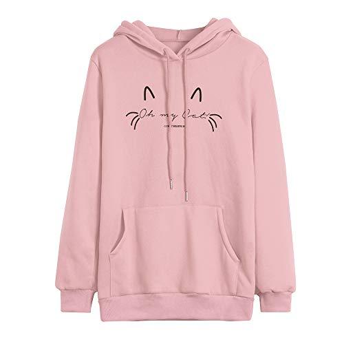 iHENGH Damen Herbst Winter Bequem Lässig Mode Frauen beiläufige liegende Katze gedruckte Lange Hülsenkatze Ohr mit Kapuze Sweatshirt Taschen ()