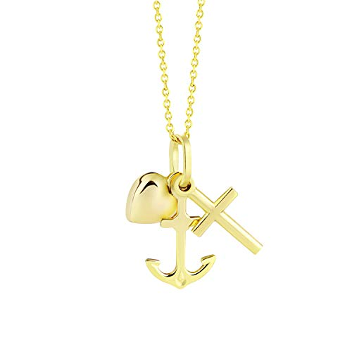 fish Mädchen Jungen Hals-Goldkette 333 Gold Anhänger GlaubeLiebeHoffnung Längen-verstellbar Geschenkverpackung Geburt Geschenk