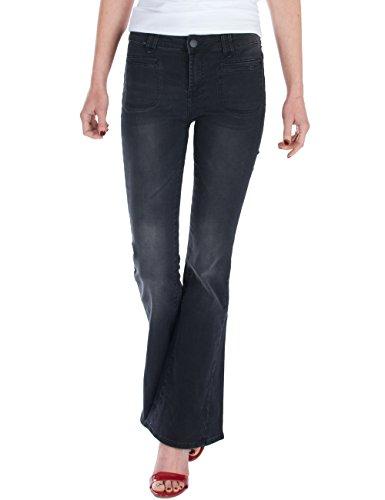 Fraternel Damen Jeans Hosen Schlaghose Bootcut Stretch Schwarz M / 38 - W30 (Leg Wide Rise Low)