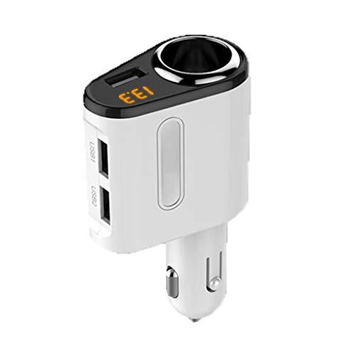 Ladegeräte KFZ-Ladekabel USB 2 Port Auto Ladegerät, Kfz-Ladegerät 12V / 24V, intelligente Spannungserkennung Zigarettenanzünder Auto Ladegerät KFZ-Ladekabel für Handys (Color : White) -