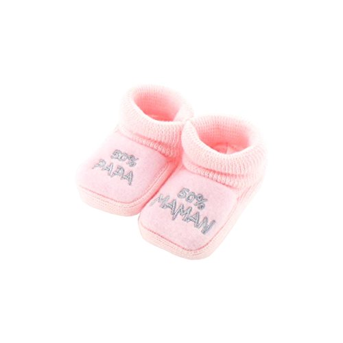 Chaussons pour bébé 0 à 3 Mois rose - 50 Maman 50 Papa