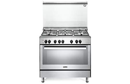 Cucina a gas 5 fuochi con forno elettrico ventilato multifunzione 90x60 cm classe a colore inox