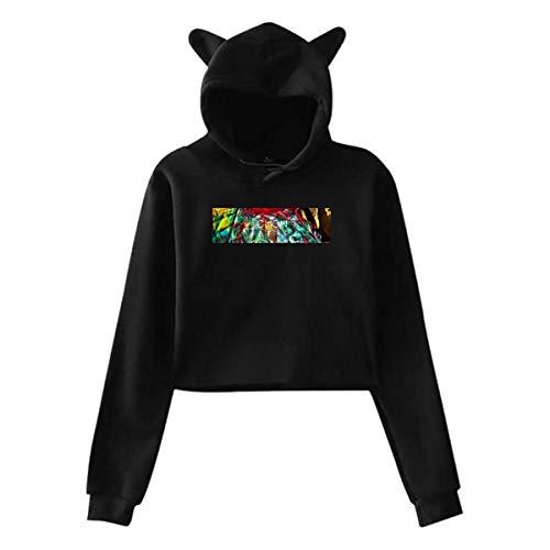 Kakt Donna Felpe, Donna Felpe con Cappuccio Manica Lunga Pullover, Cat Ear Hoodie CHON-Waterslide Sweater Jumper Black