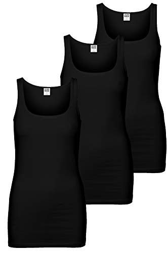 VERO MODA 3er Pack Maxi My Long Tank Top (M, 3er Pack Schwarz)