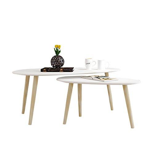2x Beistelltisch,Beistelltisch weiß,Holz,weiß Couchtisch rund Wohnzimmertisch Kaffeetisch Satztisch, B100*T50*H40 cm/ B70*T35*H35 CM