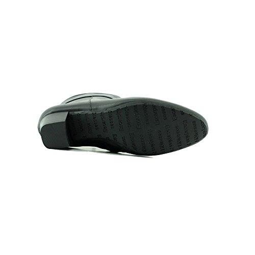 Boots Femme Noir Bout rond talon bas - Malaga Alarm Free - Escarpins d'Hotesses ® C-Noir