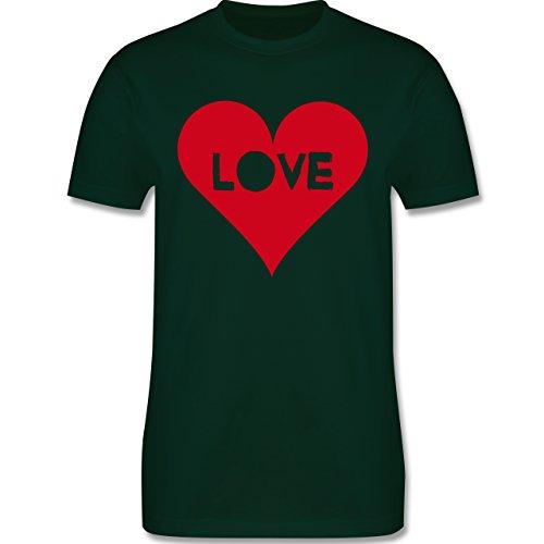 I love - Herz - Love - Herren Premium T-Shirt Dunkelgrün