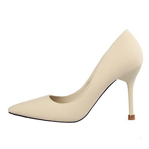 AalarDom Femme à Talon Haut Pointu Tire Chaussures Légeres Beige-Suédé