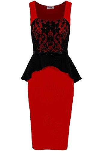 Fantasia - Femmes - Robe moulante péplum sans manches dentelle contraste volant avec ceinture Rouge/noir