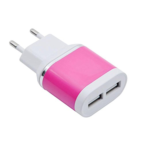 bescita 5.1A 2-Port USB Charger with PowerIQ technology for iPhone, iPad, iPod, Samsung Galaxy, Nexus, HTC, Motorola, LG and more (Pink) (Charger Home Travel Blackberry)